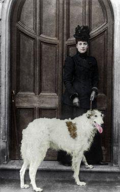 Alexandra, Consort of King Edward VII with Alex, her Champion Borzoi Russian Wolfhound. Borzoi Dog, Whippet, Russian Dog Breeds, Russian Wolfhound, King Edward Vii, Matou, Vintage Dog, Dog Photos, Beautiful Dogs