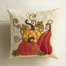 Our mini pumpkin patch pillow is embellished with appliqued shapes and bright embroidery, set on a subtly printed cover and plumped with poly fiberfill. Think of it as a harvest festival in miniature pillow form. Fall Pillows, Diy Pillows, Decorative Pillows, Throw Pillows, Applique Pillows, Sewing Pillows, Fall Projects, Sewing Projects, Pumpkin Applique