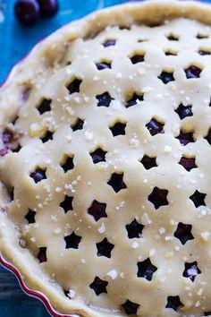 Vanilla Bourbon Cherry-Blueberry Pie An ultra delicious fruit pie with a kick Köstliche Desserts, Dessert Recipes, Plated Desserts, Summer Desserts, Delicious Fruit, Yummy Food, Pie Crust Designs, Half Baked Harvest, Sweet Pie