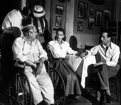 """""""Key Largo"""" Lionel Barrymore, Lauren Bacall, and Humphrey Bogart 1948 Warner Bros. Key Largo Movie, Bogie And Bacall, The Big Sleep, Gangster Movies, Golden Age Of Hollywood, Classic Hollywood, Classic Jazz, Ensemble Cast, Film Noir"""