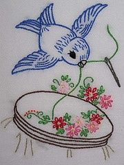 Vintage Love!! D.I.Y. Pattern Inspiration * Sweet lil' Blue Bird Sewing Embroidery Design. Perfect for an apron or embroidery hoop art!