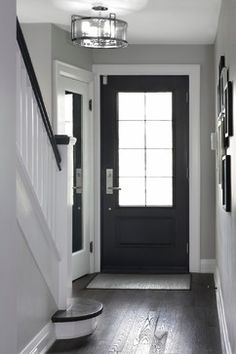 Dark wood floor light grey walls white trim Home Color