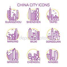 下载 - 中国城市图标集 — 图库插图 #154259698 Guangzhou, Shenzhen, Wuxi, City Icon, Ningbo, Nanjing, Dongguan, Chengdu, Taipei