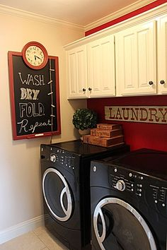 Small laundry room design ideas will help you to enjoy the area around your washer . Find the best ideas for 2018 and transform your space! Red Laundry Rooms, Country Laundry Rooms, Laundry Room Wall Decor, Laundry Room Remodel, Laundry Room Organization, Laundry Room Design, Laundry Storage, Kitchen Remodel, Kitchen Design