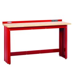 CRAFTSMAN W x H Wood Work Bench at Lowe's. The CRAFTSMAN® wide workbench is the perfect work table, for repair tasks and hobbies. The thick butcher block top is smooth and sturdy and Woodworking Bench Plans, Workbench Plans, Woodworking Projects, Workbench Top, Wood Projects, Garage Workshop Organization, Garage Storage, Diy Garage, Butcher Block Top