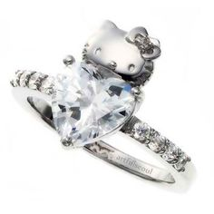 Hello Kitty heart diamond wedding engagement ring