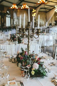 Tablescape with Jewel Tone Florals and Vintage Candelabra | Credit: Knot Just Pics