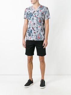 shirt El amp; Dolce Farfetch Crew King Neck Blanco Algodón T Gabbana azul YCw7z
