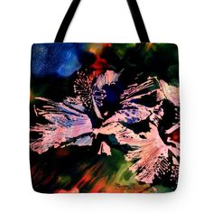 "Heavenly Hibiscus Tote Bag by Marionette Taboniar (18"" x 18"").  The tote bag is machine washable, available in three different sizes, and includes a black strap for easy carrying on your shoulder.  All totes are available for worldwide shipping and include a money-back guarantee."