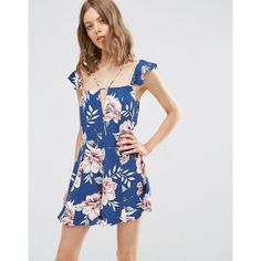 ASOS Floral Strappy Romper with Frills ($57) ❤ liked on Polyvore featuring jumpsuits, rompers, multi, asos, floral rompers, flower print romper, ruffle rompers and floral print romper