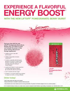 New Herbalife Product Alert. Welcome Herbalife Liftoff Pomegranate-Berry to the Family. Gives you the caffeine boost you need to stay alert and focused. Herbalife Meal Plan, Herbalife Motivation, Herbalife Shake Recipes, Protein Shake Recipes, Herbalife Nutrition, Herbalife Products, Herbalife Quotes, Protein Smoothies