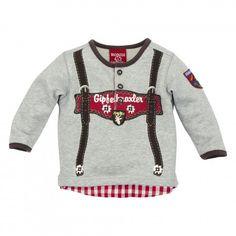 Sweatshirt ´Hosenträger´ grey-melange im Lederhosen Look für Jungen, Kindertracht