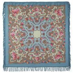 Шали 125х125 : Откровение 1551-12, павлопосадский платок шерстяной с шерстяной бахромой
