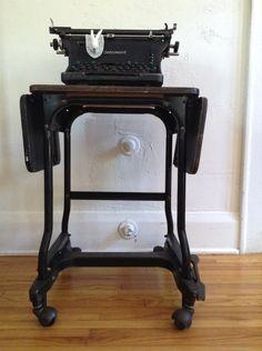 Vintage Modern Industrial Typewriter Table Stand Cart by vagabondsandcaravans on Etsy
