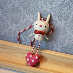 Ornament  Vincent the Valentine Bunny  Paperclay by PigAndPumpkin, $22.00
