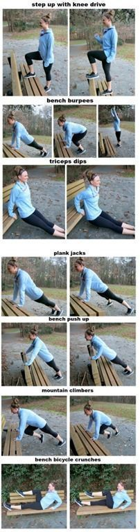 Bodyweight Bench Workout -- A workout you can do with no equipment other than a park bench (or a workout bench at the gym)! A TOTAL BODY WORKOUT! (Apparel by /championusa/! Outdoor Workouts, Fun Workouts, At Home Workouts, Body Workouts, Workout Routines, Workout Videos, Workout Bodyweight, Workout Fun, Workout Plans