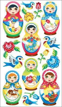 Sticko Babushka Babies Stickers From sticko Offers an assortment of designs in a variety of materials, sizes, colors and shapes Acid and lignin free Baby Stickers, Cute Stickers, Scandinavian Folk Art, Matryoshka Doll, Doll Quilt, Arts And Crafts Supplies, Amazon Art, Paper Dolls, Wallpaper