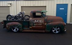 ACE Garage Advanced Design Chevy pickup truck with a sweet custom motorcycle in the bed. Pic 1