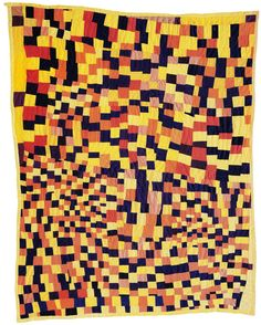"This riff on the checkerboard quilt pattern was pieced by Rosie Lee Tompkins of Richmond, California, and quilted by Willia Ette Graham of Oakland in 1986. Part of Eli Leon's collection, from the exhibition catalog for ""Who'd A Thought It: Improvisation in African-American Quiltmaking,"" San Francisco Craft and Folk Art Museum."