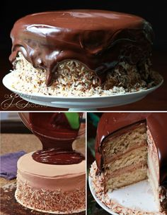 Banana Coconut Cake with Ganache Frosting