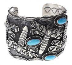 Sterling Silver Genuine Sleeping Beauty Turquoise Masterpiece Dragon Fly & Inner Stamping Bracelet Navajo Native American Sou - Price Estimate: $1200 - $1500 #SterlingSilverCuff