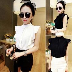Buy 'QZ Lady – Sleeveless Mock-Neck Ruffled Blouse' with Free International Shipping at YesStyle.com. Browse and shop for thousands of Asian fashion items from China and more!