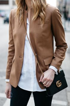 Fall Outfit, Winter Outfit, White Button-Down Shirt, Camel Blazer, Gucci Marmont Handbag Source by fashion_jackson outfits Beige Blazer Outfit, White Shirt Outfits, Camel Blazer, Blazer Outfits For Women, Cropped Blazer, Trajes Business Casual, Business Casual Outfits, Mode Outfits, Fall Outfits