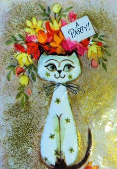 Vintage Hallmark Party Invite Kitty Card