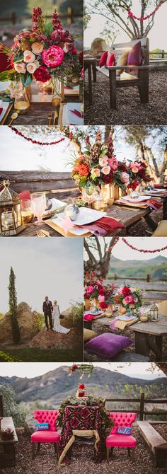 Bohemian Wedding Decor Inspiration in Malibu at Cielo Farms. Gold accents, globes, pops of floral color & travel decor!  Surrounded by views & vineyards. Photo by WIld Whim Design & Photography