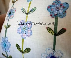 Beautiful Blues Floral Cushion.  Applique & Free Embroidery on Linen £30.00