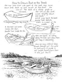How to Draw Worksheets for Young Artist: How To Draw Boat On Beach Worksheet. - How to Draw Worksheets for Young Artist: How To Draw Boat On Beach Worksheet. See additional notes - Easy Art Lessons, Drawing Lessons, Drawing Techniques, Drawing Tips, Drawing Sketches, Painting & Drawing, Art Drawings, Boat Drawing, Drawing Ideas