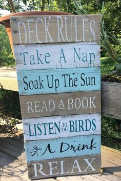 This is the perfect sign for the back deck! Made from reclaimed wood! Deck Rules sign deck sign deck decor lakehouse decor cottage decor pallet signs wood signs gift idea sponsored by mandy Patio Signs, Pool Signs, Backyard Signs, Outdoor Wood Signs, Pool Rules Sign, Lake Rules, Lake Signs, Diy Pallet Projects, Wood Projects