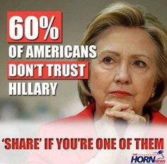 Should be 100%,due to the evidence of her treasonous actions. Please don't vote for this hag!!!!!!