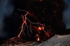 Lightning branches out from behind a veil of ash clouds at Iceland's Eyjafjallajökull volcano in April 2010. Photograph by David Jon, NordicPhotos/Getty Images        Click here to see more National Geographic photos.      It wasn't the lightning but rather the widespread ash clouds from the April 2010 eruption of Iceland's Eyjafjallajökull volcano (pictured) that eventually grounded a hundred thousand flights. Photograph by Lucas Jackson, Reuters