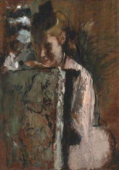 Artwork by Edgar Degas, Jeune fille assise appuyée au dossier d'un fauteuil, Made of oil on panel