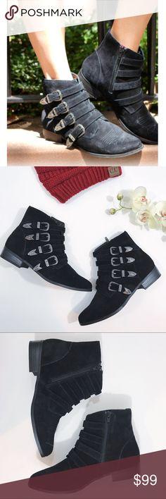"NWOT Fibi & Clo New York Houston Bootie NWOT Fibi & Clo New York Houston Bootie. Calf Suede Leather with metal buckles. 1"" leather heel. Memory foam insole. Brand new without tags. Fibi & Clo New York Shoes Ankle Boots & Booties"