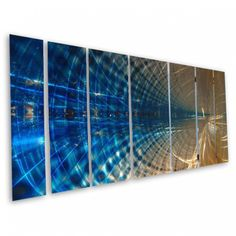 All My Walls Abstract By Ash Carl 3 Dimensional Metal Wall Art In Blue 23 5