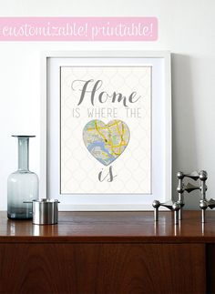 Home Is Where The Heart Is moving gift printable by BourneToDesign