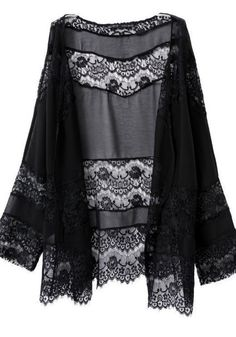 Black lace kimono can be paired with a simple black tank top