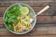 Then the other day I was picking zucchini in the garden and wondering what I could do with it. And so my Zucchini & Chicken version of Pad Thai was born! Easy Meal Plans, Easy Meals, Diet Recipes, Cooking Recipes, Coriander Cilantro, Zucchini Spaghetti, Stone Soup, Asian Recipes, Ethnic Recipes