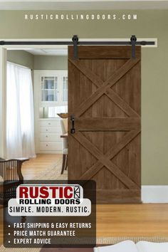 The leading online provider of finely crafted barn doors and barn door hardware. From rustic to modern, we have rolling doors and hardware for any room. Making Barn Doors, Barn Door Designs, Rustic Walls, Barn Door Hardware, Modern Rustic Interiors, Wall Colors, Home Remodeling, Room Ideas