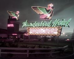 Old Photo of the Thunderbird Hotel, early evening, circa 1950s