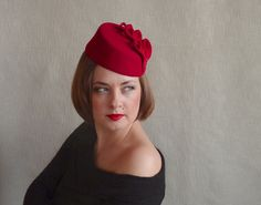 Red Felt Fascinator with Hearts - Red Pillbox Hat Fascinator - Red Cocktail  Hat 436ba00d97f