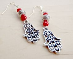 red and silver earrings with Hand of Hamsa by #lizzierosejewelry #earrings #ethnic #handmade