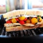 Bruschetta Panini with chicken.... A way to use up our tomatoes from the garden this summer