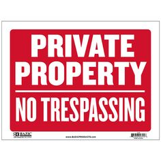 12 Inch X 16 Inch Private Property No Trespassing Sign Wholesale Cheap Discount Bulk