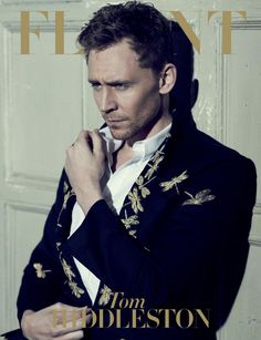 Tom Hiddleston, Flaunt Magazine This is really sexy but someone please tell me why there are dragonflies on his jacket.