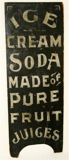 Antique Painted Ice Cream Trade Sign