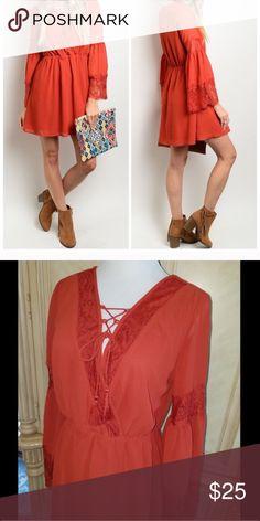 ⚡️Black Friday sale⚡️Rust boho lace trim dress 👗 NWOT never worn adorable 💕💕💕💕 Dresses Midi