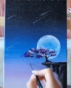 Working with a paddle brush and colorful acrylics paint on canvas. *** art by Deniz Altug Simple Canvas Paintings, Easy Canvas Art, Small Canvas Art, Black Canvas Art, Moon Painting, Acrylic Painting Canvas, Acrylic Art, Purple Painting, Winter Painting